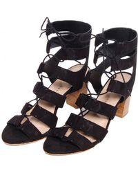 Loeffler Randall Thea Lace Up Sandals - Black - Lyst