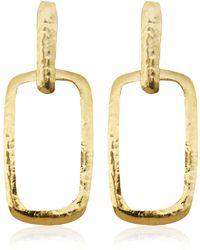 Herve Van Der Straeten Goldplated Square Cut Out Earrings - Lyst