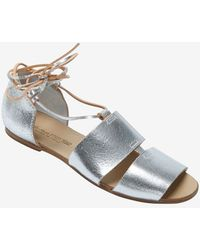 Collection Privée - Collection Privée Wrap Around Leather Cord Flat Sandal - Lyst