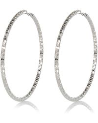 River Island Silver Tone Oversized Faceted Hoop Earrings silver - Lyst