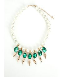 Missguided Crystal Pearl Drop Necklace Green - Lyst