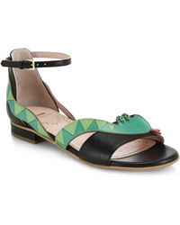 Moschino Cheap & Chic Snake Leather Sandals green - Lyst