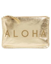 Alola - 'aloha' Metallic Leather Clutch - Metallic - Lyst