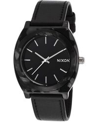 Nixon Womens Time Teller Black Genuine Leather and Dial - Lyst