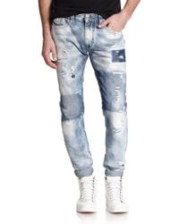 Diesel Thavar Distressed Patchwork Slim-Fit Jeans - Lyst