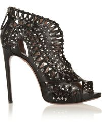 Alaïa Studded Cut-out Leather Sandals - Lyst