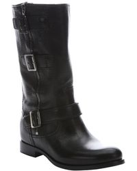 Prada Black Leather Buckle Moto Boots - Lyst