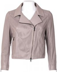 DROMe Perforated Leather Beige Jacket - Lyst