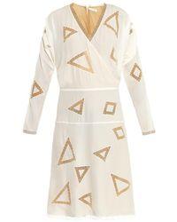 Chloé Geometric-embroidery Silk Dress - Lyst