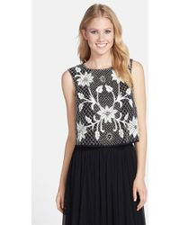 Needle & Thread Embellished Mesh Top black - Lyst