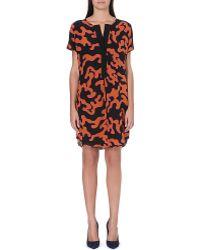 Diane Von Furstenberg Swirl Print Silk Shift Dress Orange - Lyst