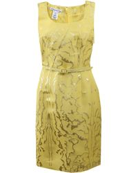 Oscar de la Renta Lurex Faille Pencil Dress - Lyst
