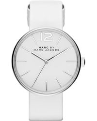 Marc By Marc Jacobs Peggy Stainless Steel & Leather Strap Watch/White silver - Lyst