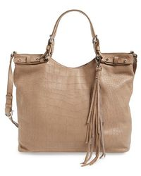 Etienne Aigner - Croc Embossed Leather Tote - Lyst