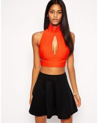TFNC Wrap Crop Top With Cut Outs orange - Lyst