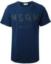 MSGM Printed Logo T-Shirt - Lyst