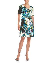 Chetta B - Flower Print Fit & Flare Dress - Lyst