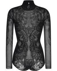 Zuhair Murad | Black Lace Knit Bodysuit | Lyst