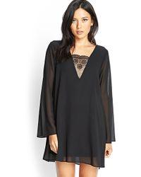 Forever 21 Crochet Lace Chiffon Dress - Lyst