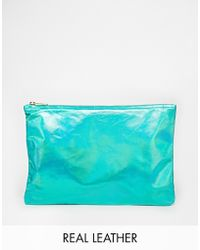 American Apparel - Iridescent Leather Clutch In Green - Lyst