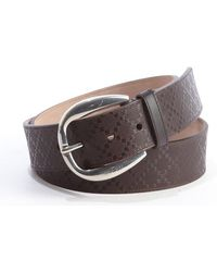 Gucci Brown Diamante Leather Round Buckle Classic Belt - Lyst