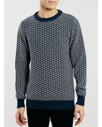 Topman Selected Homme Blue Jumper - Lyst