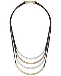 Topshop Cord And Metal Bar Multi-Row Necklace black - Lyst