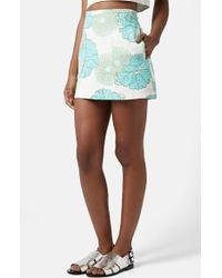 Topshop Retro Floral Miniskirt - Lyst