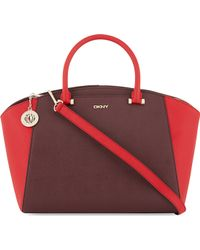 DKNY Saffiano Leather Tote Redbordeaux - Lyst