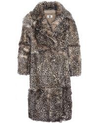 Topshop Unique - D'arblay Cheetah-print Shearling Coat - Lyst