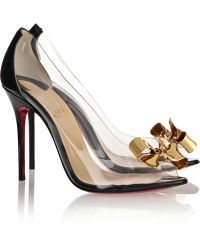 Christian Louboutin Justinodo 100 Embellished Pvc And Patent-Leather Pumps - Lyst