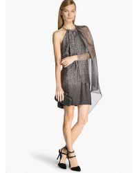 Halston Asymmetric Printed Dress - Lyst