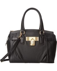 Calvin Klein Pebble Leather Padlock Satchel - Lyst