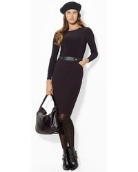 Lauren by Ralph Lauren Belted Ponte Boatneck Dress - Lyst