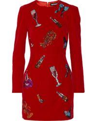 House Of Holland Sequin Embellished Velvet Mini Dress - Lyst