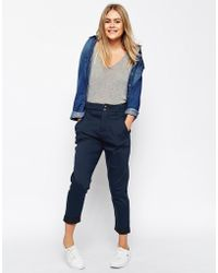 Asos High Waisted Utility Pant blue - Lyst