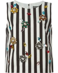 Dolce & Gabbana Embellished Striped Tank Top - Lyst
