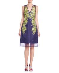 L.K.Bennett - Lynne Floral Embroidered Sheer Silk Dress - Lyst