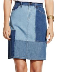 Two By Vince Camuto - Colorblocked Denim Skirt - Lyst