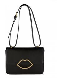 Lulu Guinness Black Smooth Leather Small Edie - Lyst