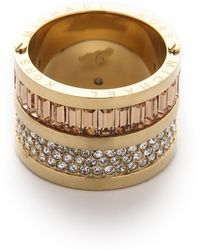 Michael Kors Pave  Baguette Barrel Ring - Goldcleartopaz - Lyst