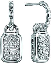 John Hardy Silver Drop Earrings With Diamonds - Lyst