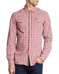 Diesel Cotton Check Sportshirt red - Lyst