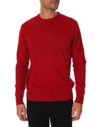 Hackett Blue Round Neck Merino Wool Jumper With Logo - Lyst