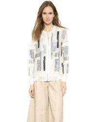 By Malene Birger Alitalia Sequin Patchwork Bomber - Cream - Lyst