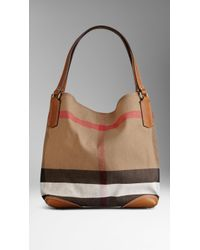 Burberry Medium Canvas Check Tote Bag - Lyst