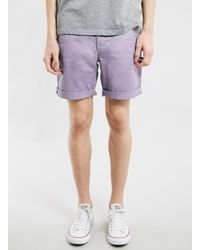 Topman Washed Lilac Chino Shorts - Lyst