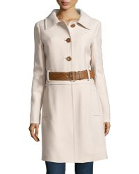 Philosophy di Alberta Ferretti Embossed-Leather Belted Long Overcoat - Lyst