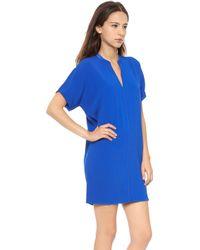 Vince V Neck Dress - Cobalt - Lyst