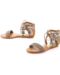 Dolce Vita Ashtyn Flat Haircalf Sandals - Sand Spotted - Lyst